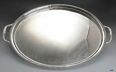 1806 Antique English Georgian Sterling Silver Tray w/ Grapes & Vines