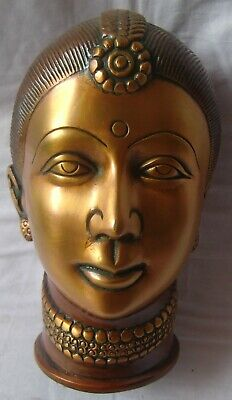Brass statue of indian royal lady woman face figurine fine carved table decor