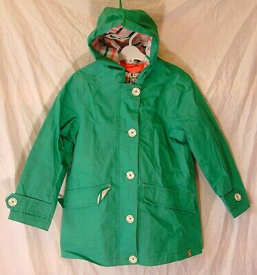 Girls Joules Pea Green Cotton Lined Hooded Spring Summer Rain Coat Age 8 Years