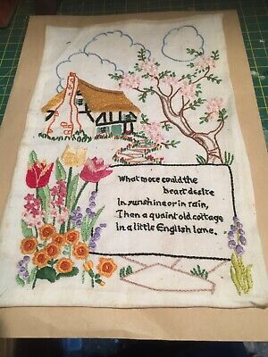 Vintage Hand Embroidered English Cottage Garden Picture 1920/30