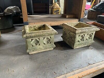 Pair of vintage, composite stone planters