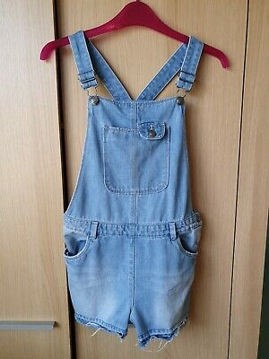 WORN ONCE Girls Ripped Denim Short Dungarees  from TU Age 11