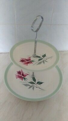 Vintage Biltons Staffordshire 2 Tier High Tea / Cake Stand 50's. Floral. Roses.