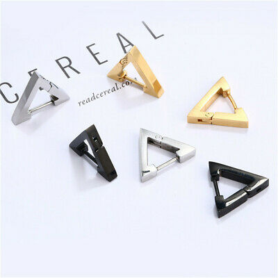 1Pair Punk Stainless Steel Triangle Men's Women's Hoop Huggie Ear Studs Earrings
