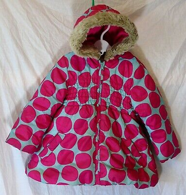 Baby Girls M&S Blue Pink Spot Fur Trim Hooded Padded Puffa Coat Age 18-24 Months