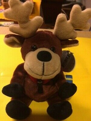 Vintage Coca Cola Coke Beanie Stuffed Animal -  Reindeer Baltic (Sweden) 1999
