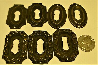 7 Antique Brass Furniture Drawer Key Hole Cover Escutcheon Plates
