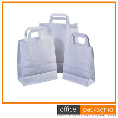 """Small Kraft White SOS Food Carrier Paper Bags Takeaway With Handles 7""""x3.5""""x8.5"""""""