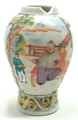 18th Century Chinese Hand Painted Tea Canister Scenic Views Figural