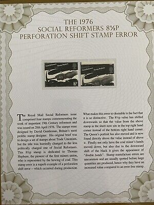 1976 Social Reformers 8 1/2p Perforation Shift Stamp Error In A Folder