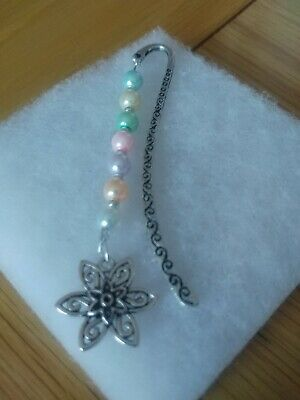 New Multi Coloured Bookmark With Flower Charm