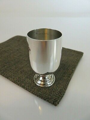 Baldwin & Miller Art Deco Sterling Silver Footed Liquor Shot Cup & Pouch