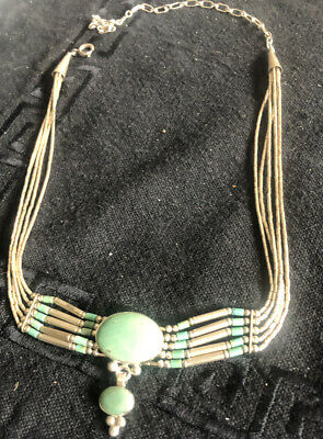 """Vintage Navajo 925 sterling silver liquid silver turquoise 5 strand necklace 17"""""""