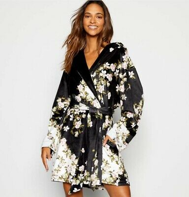 BNWT B by Ted Baker Black Short Floral Print Opal Design Dressing Gown 8-10 NEW