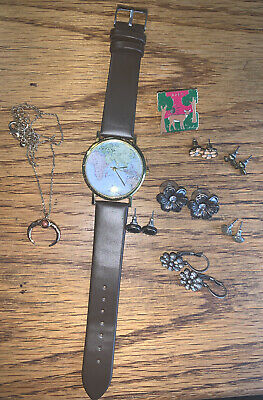 Jewelry Lot Vintage & Modern Watches Earrings Necklace Estate Sale Find