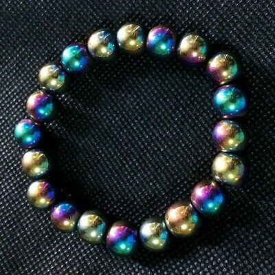 BRACELET LEKLAI MAGNETIC RAINBOW COVER GOLD SHEET UMKRUM 8mm THAI AMULET