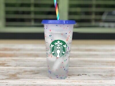 Starbucks Confetti Color Changing  2020 cup tumbler 24oz reusable Rainbow Straw