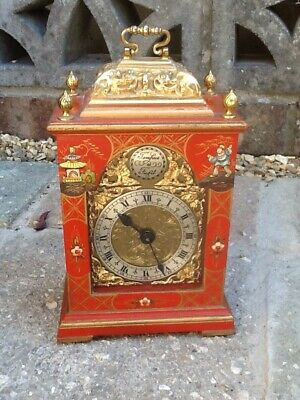 Vintage Chinoiserie Mantel Clock With Elliott Movement!