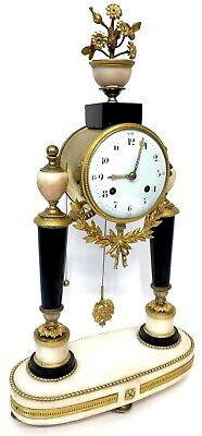 Antique Ormolu Mounted Portico Clock With Pull Repeat And Verge Escapement
