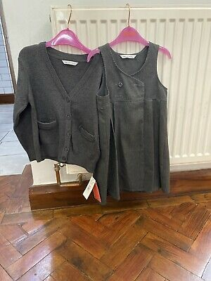 Girls Age 3-4 Grey School Dress And Grey School Cardy Brand New With Tags M&S