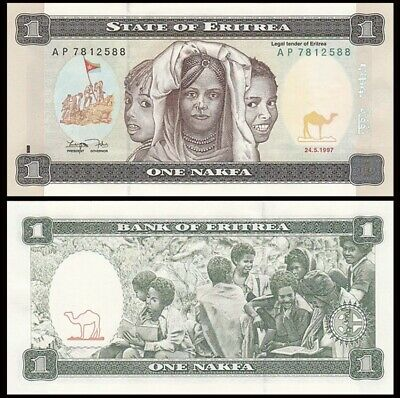 ERITREA 1 Nakfa, 1997, P-1, First Issue, UNC World Currency
