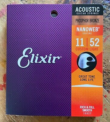 +++ ELIXIR 16027 NANOWEB PHOSPHOR BRONZE ACOUSTIC Guitar Strings 11-52  +++