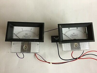 Vintage ACOPIAN 0-3 AMP and 0-60 VDC Meters With Window Frames - Made in The USA