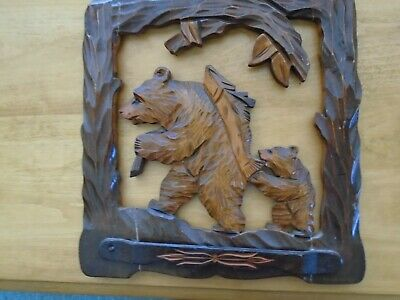 Folk Art Wood Carved Bear Picture