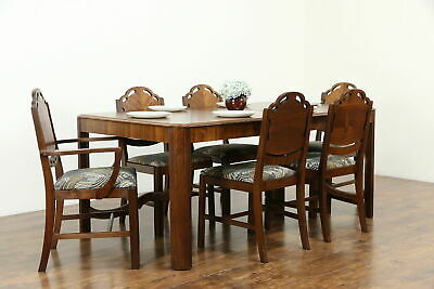 Art Deco Vintage Dining Set Table & Leaf, 6 Chairs Newly Upholstered #33523