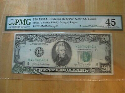 1981-A Series $20 Federal Reserve Note  Large Printed Fold Error Pmg 45