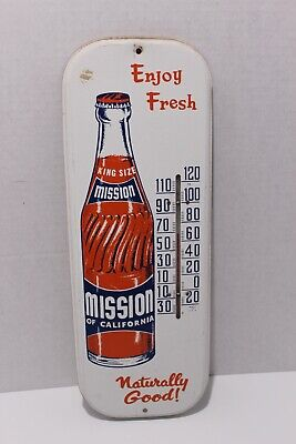 Antique Mission Orange Soda Advertising Thermometer Sign