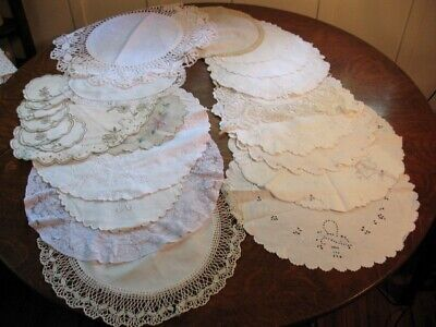 Lot of 23 Vintage Rounds Doilies Table Scarves Cutwork Lace Embroidery Crochet