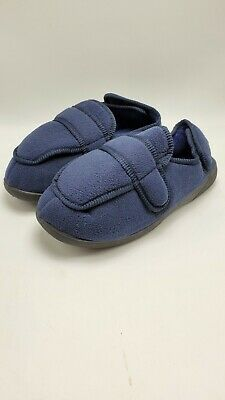 Gold Toe Mens Diabetic Slippers Edema Adjustable Closures Extra Wide Width Navy