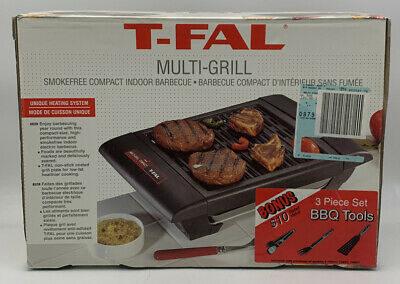 Electric T-Fal MultiGrill Smokefree Compact Indoor Counter Barbecue Grill 20-933