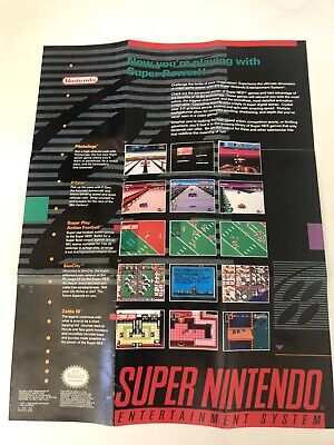 "Super Nintendo Now You're Playing With Power Poster SNES 15""x11"" Good Condition"