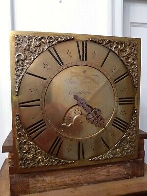 Georgian Oak Cased Single Finger Brass Face Longcase Grandfather Clock John Wood