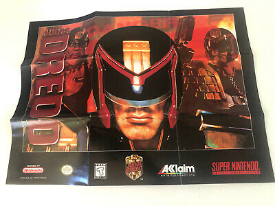 "Judge Dredd Super Nintendo SNES 2-Sided Poster/Map 15""x11"" Authentic Good Cond"