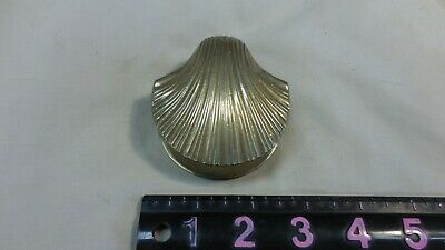 Vintage Brass Trinket Box Clam Shell Hinged Lid JewelryCollectible India Patina
