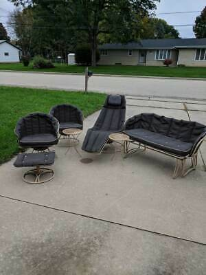Vintage Homecrest Patio Set 2 Chairs Glider Chaise Table Footstool 7 pieces