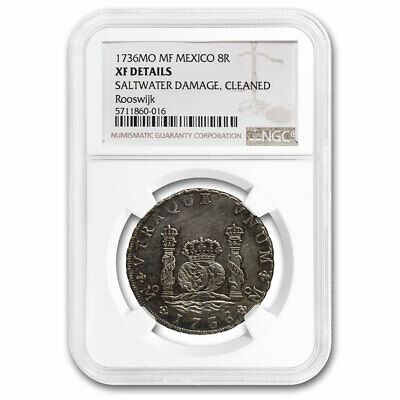 1736 Mo-MF Mexico AR 8 Reales XF Details NGC Rooswijk Shipwreck - SKU#213130
