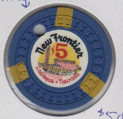 New Frontier $5 Las Vegas Chip Rare but Drilled 3rd issue