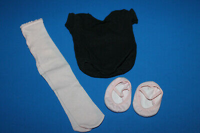 American Girl Doll Black Leotard Pink Tights & Ballet Slippers