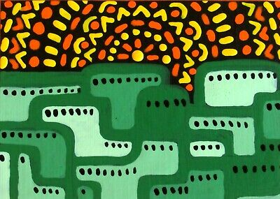 ACEO Original Painting ANCIENT CITY abstract contemporary outsider JEFF ZENICK