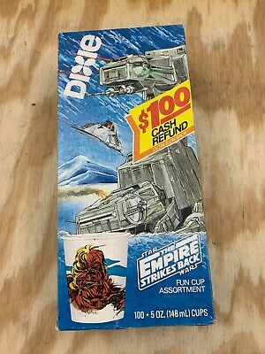Vintage Empire Strike Back Dixie Cups In Box New AT-AT Chewbacca Hoth