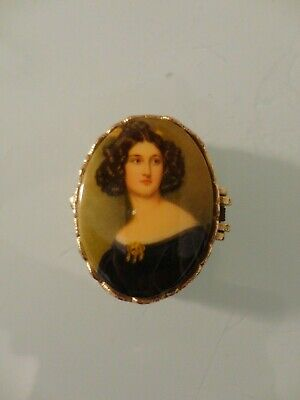 Vintage Metal Pill Trinket Box With Lady Portrait Cameo
