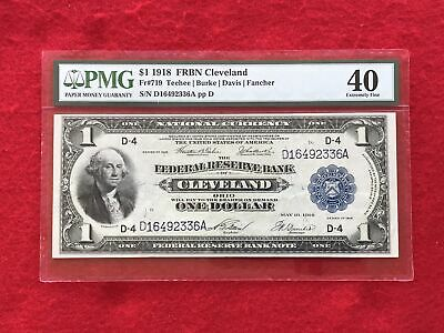 FR-719 1918 Series $1 Cleveland Federal Reserve Bank Note *PMG 40 Extremely Fine
