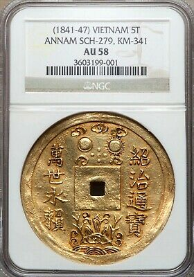 Gold Coin, Vietnam, 5 tien Tien 1841-1847, KM-341 VIRTUALLY UNIQUE NGC AU58