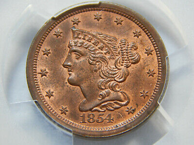 1854 1/2C Braided Hair Half Cent MS-64+RB PCGS/CAC, Really Nice!
