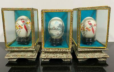 Vtg 3pc Signed Chinese Export Hand Painted Real Eggs In Cases