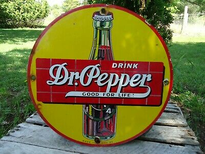 "Old Vintage Dated 1939 Drink Dr. Pepper ""Good For Life""  Porcelain Sign Soda"